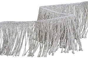 Silver mylar thread fringe 5 1/4 Inch drop (130 mm) (4334641152072)
