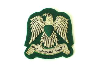 LIBYA ARMY CAP BADGE ON GREEN (4334421737544)