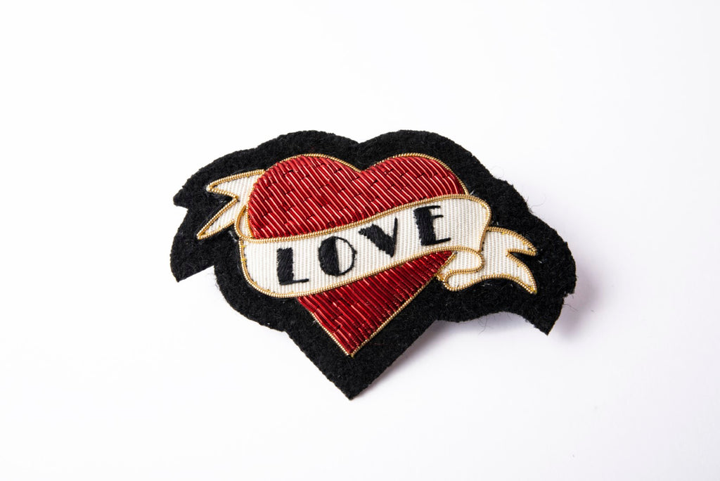 Goldwork Heart And Scroll Brooch (4380292513864)