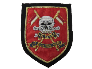 Queens royal lancers blazer badge DEATH OR GLORY (red) (4334452408392)