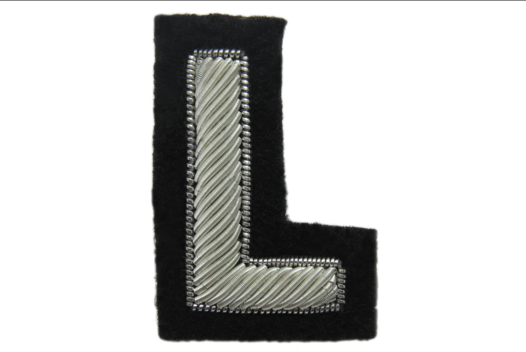 Silver Goldwork Letter Badge (4380466741320)
