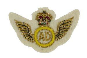 AIR DESPATCH ARM BADGE GOLD WINGS MESS DRESS ON CREAM (4344224874568)