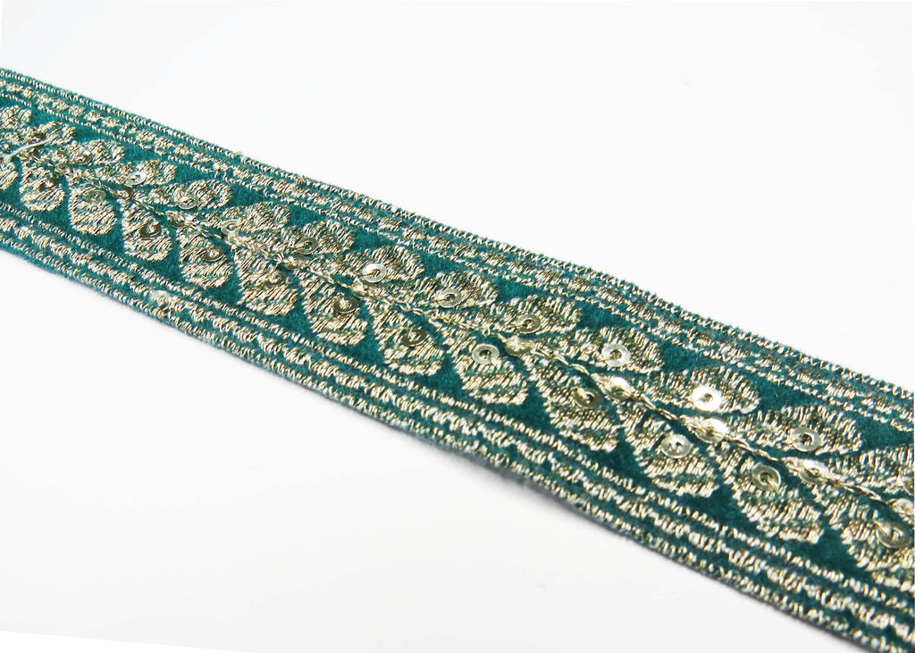 Green and Silver Sequin repeat pattern trim (5779818971302)