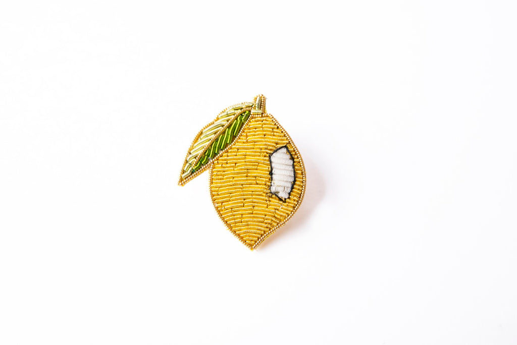 Goldwork Lemon Brooch (4334656847944)