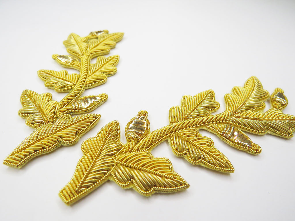 Repeat Pattern Oak Leaf (with acorn) Gold pair (4334446870600)