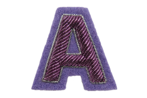 Purple Goldwork Letter Badge (4379223687240)