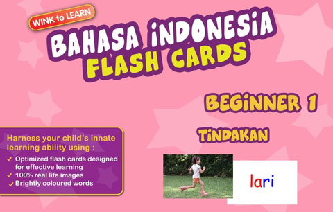 WINKtoLEARN Bahasa Indonesia Digital Flash Cards -  Beginner  1 - Actions - FREE Trial Pack