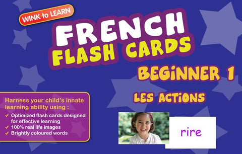 WINKtoLEARN French Digital Flash Cards -  Beginner  1 - Actions  (FREE Trial Pack)