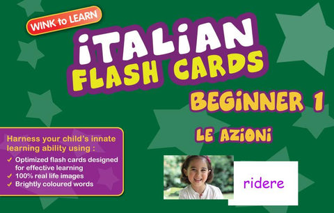 WINKtoLEARN Italian Digital Flash Cards -  Beginner  1 - Actions  (Free Trial Pack)