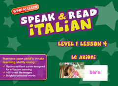 WINKtoLEARN Italian Learning Digital Video Streaming Series - Level  1 - Lesson 4 - Actions - Front Cover