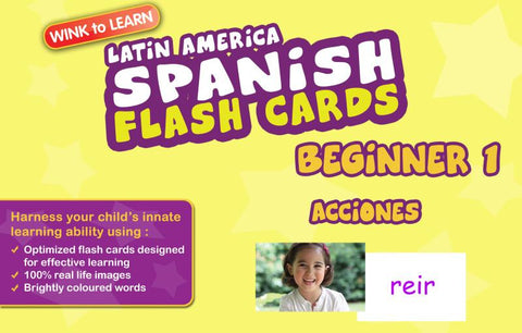 WINKtoLEARN Spanish (Mexican) Digital Flash Cards -  Beginner  1 - Actions  (FREE Trial Pack)