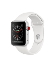 Load image into Gallery viewer, Apple Watch Series 3 42mm Apple Stainless Steel Case with Soft White Sport Band GPS + Cellular (NEW SEALED)