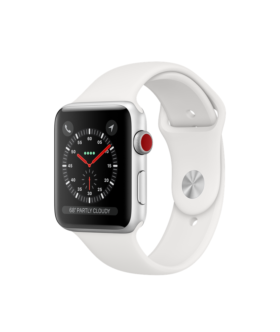Apple Watch Series 3 42mm Apple Stainless Steel Case with Soft White Sport Band GPS + Cellular (NEW SEALED)