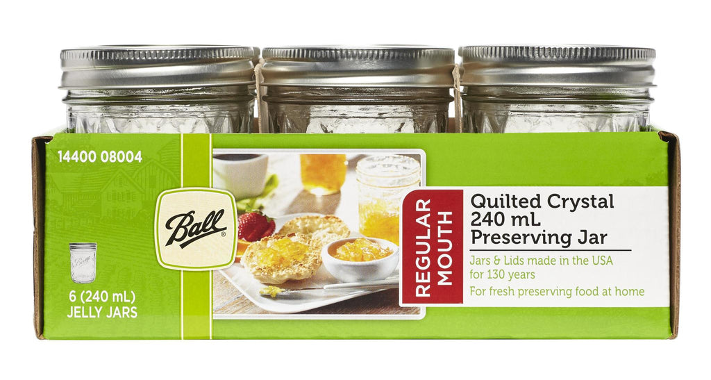 6 PACK BALL MASON QUILTED DESIGN PRESERVING JARS 240ML REGULAR MOUTH WITH RECIPE INSERT (8004)