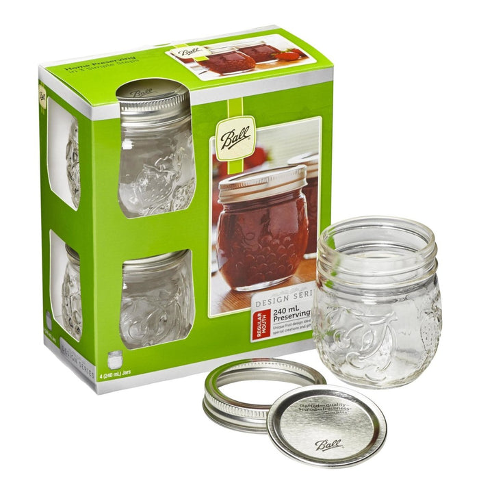 4 PACK BALL MASON FRUIT DESIGN PRESERVING JARS 240ML REGULAR MOUTH (8010)