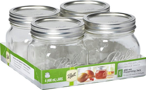 4 PACK BALL MASON SIGNATURE PRESERVING JARS 490ML WIDE MOUTH WITH RECIPE INSERT (6105)
