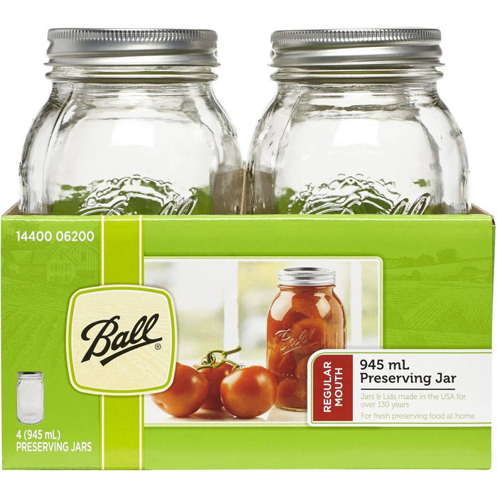 4 PACK BALL MASON SIGNATURE PRESERVING JARS 945ML REGULAR MOUTH WITH RECIPE INSERT (6200)