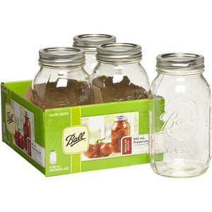 4 PACK BALL MASON SIGNATURE PRESERVING JARS 945ML REGULAR MOUTH WITH RECIPE INSERT (6200) - 2tech ltd