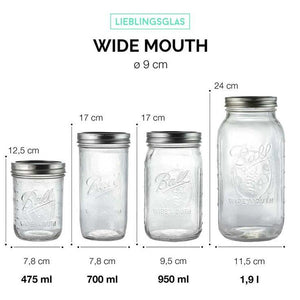 4 Pack BALL MASON Signature Preserving Jars 945ml WIDE Mouth with Recipe Insert (6704) - 2tech ltd