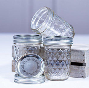 6 Pack Ball Mason Quilted Design Preserving Jars 240ml Regular Mouth With Recipe Insert - 2tech ltd