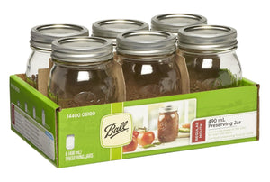 6 Pack BALL MASON Signature Preserving Jars 490ml REGULAR Mouth with Recipe Insert (6100) - 2tech ltd