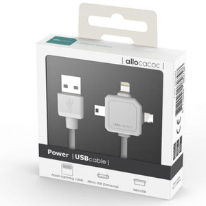 Allocacoc 3in1 USB Cable - Micro USB / Mini USB / Apple Lightning - 2tech ltd