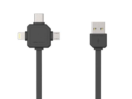 Allocacoc 3in1 USB CABLE - Type-C/Apple Lightning/Micro-USB (Grey)
