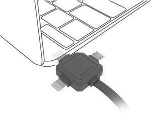 Allocacoc 3in1 USB CABLE - Type-C/Apple Lightning/Micro-USB (9003 GREY) - 2tech ltd