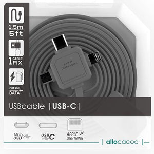 Allocacoc 3in1 USB CABLE - Type-C/Apple Lightning/Micro-USB (Grey) - 2tech ltd