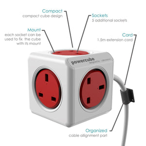 Allocacoc PowerCube Extended 3 meter 5way Wall Socket Adapter (Red) - 2tech ltd