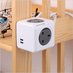 Allocacoc PowerCube Extended 3 meter USB 4 way + 2 USB Wall Socket Adapter (Grey) - 2tech ltd