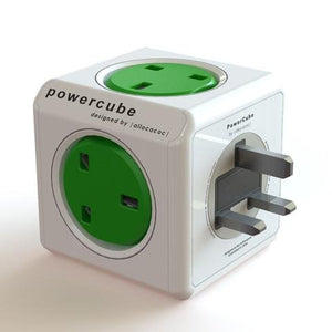 Allocacoc PowerCube Original 5way Wall Socket Adapter Outlet (Kelly Green) - 2tech ltd