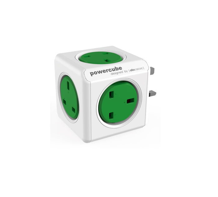 Allocacoc PowerCube Original 5way Wall Socket Adapter Outlet (Kelly Green)