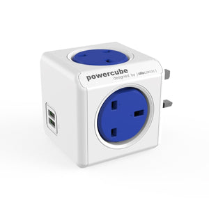 Allocacoc PowerCube Original USB 4 WAY + 2USB Wall Socket Adapter (Cobalt Blue) - 2tech ltd