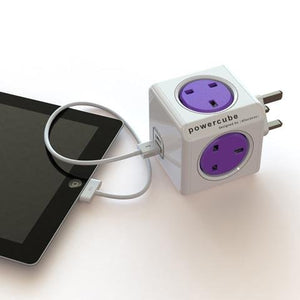 Allocacoc PowerCube Rewirable Travel Plug 4-way + 2 USB Wall Socket Adapter (Orchid Purple)