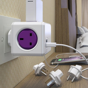 Allocacoc PowerCube Rewirable Travel Plug 4-way + 2 USB Wall Socket Adapter (Purple) - 2tech ltd