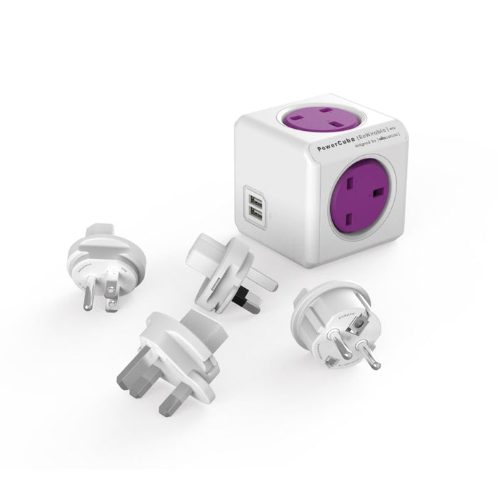 Allocacoc PowerCube Rewirable Travel Plug 4-way + 2 USB Wall Socket Adapter (Purple)