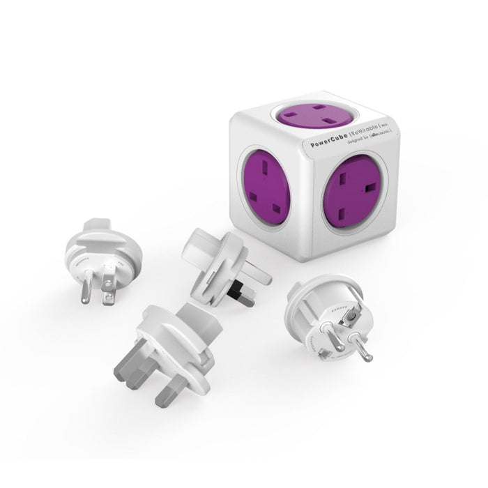 Allocacoc PowerCube Rewirable Travel Plug 5-way Wall Socket Adapter (Purple)