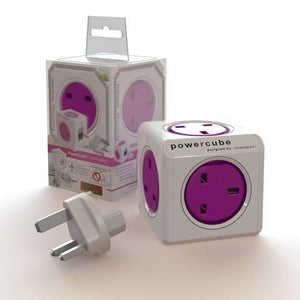 Allocacoc PowerCube Rewirable Travel Plug 5-way Wall Socket Adapter (Orchid Purple) (1840) - 2tech ltd