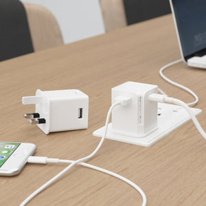 Allocacoc USBcube Original Type C - The most compact multi-USB adapter  3amp (WHITE)