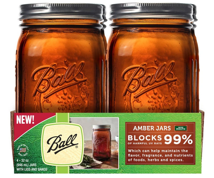 BALL AMBER PRESERVING GLASS MASON JARS, WIDE MOUTH 4-PACK with RECIPE BOOKLET