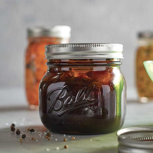 BALL AMBER PRESERVING GLASS MASON JARS, WIDE MOUTH 4-PACK with RECIPE BOOKLET - 2tech ltd