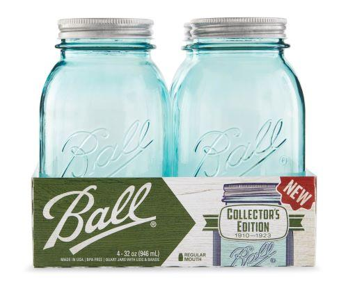 Ball Aqua Vintage Glass Mason Jars, Regular Mouth 4-pack with Metal Lids & Bands