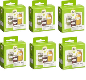 Ball Mason Jars Dissolvable Self-Adhesive Labels for Preserves and Gift Jars, Value Pack of 6 x 60 Labels - 2tech ltd