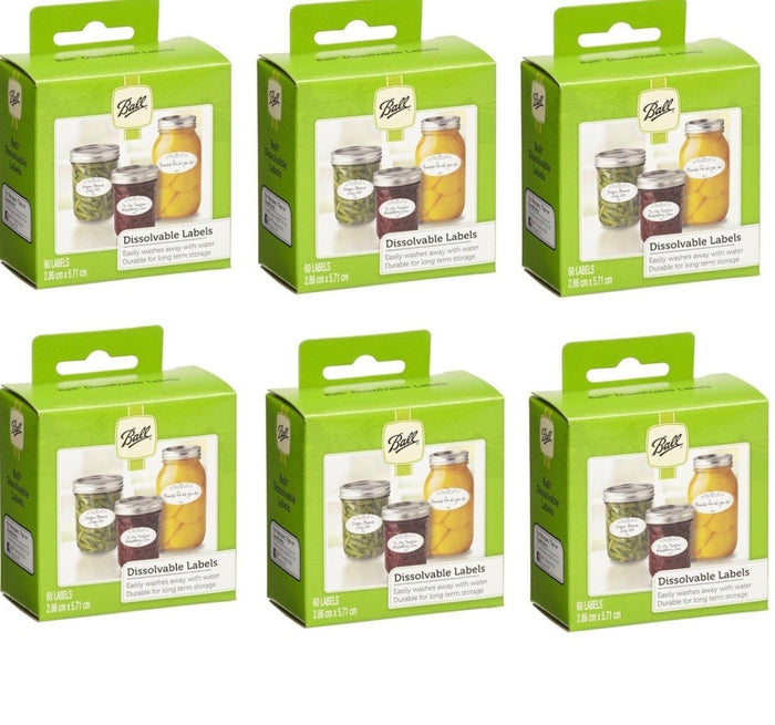 Ball Mason Jars Dissolvable Self-Adhesive Labels for Preserves Jars, Value Pack of 6 x 60 Labels