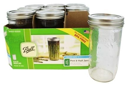 BALL® Wide Mouth 1.5 Pint, 24oz/710ml Glass Mason Jars with Metal Lids & Bands, 9 Pack