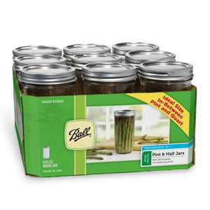 BALL® Wide Mouth 1.5 Pint, 24oz/710ml Glass Mason Jars with Metal Lids & Bands, 9 Pack - 2tech ltd
