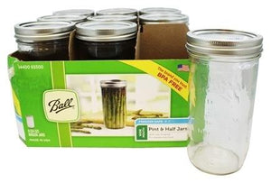 BALL® Wide Mouth 1.5 Pint/710ml Glass Mason Jars, 9 Pack - 2tech ltd