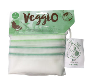 Carrinet Veggio 100% Recycled Plastic Fruit & Veg Bags, Twin-Pack Saver Bundle of 10 Mixed-Size Bags - 2tech ltd