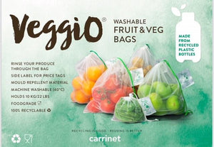 Carrinet Veggio Reusable Food Storage Bags | 100% Recycled Plastic Bottle Draw String Food Bags for Fruit and Veg Shopping, 5 Pack - 2tech ltd